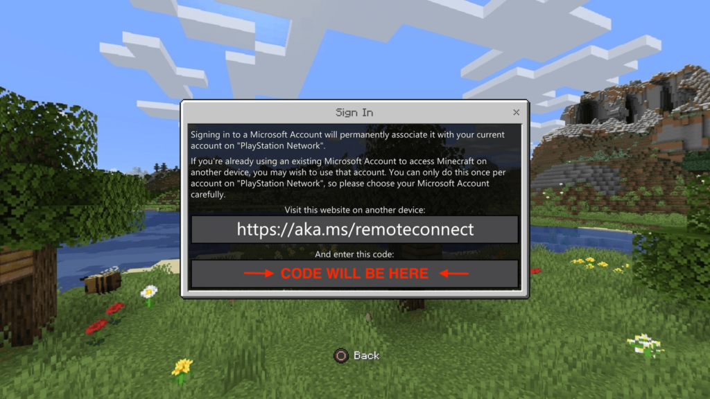 aka.ms/remoteconnect minecraft ps4