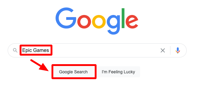 search epic games in google